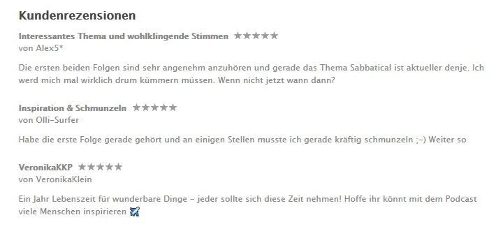 Sabbatjahr iTunes Rezensionen